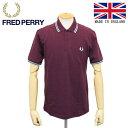 正規取扱店 FRED PERRY (フレッドペリー) M12N TWIN TIPPED FP SHIRT ライン入りポロシャツ イングランド製 K36 AUBERGINE/MINT HAZE FP398