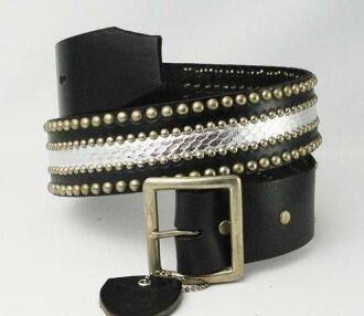 일본내 우송료・대금 상환 수수료 무료 정규 취급점 HTC(Hollywood Trading Company) #507 Silver Snake Silver Studs Belt(시르바스네이크시르바스탓즈베르트)