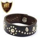 正規取扱店 HTC(Hollywood Trading Company) #SN-32 FLOWER Bracelet ブレスレット ブラックレザーxシルバースタッズ