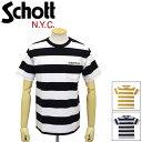 ショッピングschott 正規取扱店 Schott (ショット) 3193067 BORDER POCKET T-SHIRT ボーダー ポケット Tシャツ 全3色