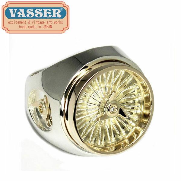 正規取扱店 VASSER(バッサー)Wire Wheel Ring Silver×K10 Gold w/3Diamond(ワイヤーホイールリングシルバー×10金ゴールド w/3ダイヤ) 正規取扱店THREEWOOD(スリーウッド)