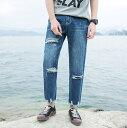 デニム メンズ ボトムス パンツ ジーンズ ジーパン ダメージ加工 ブリーチ加工 カジュアル メンズファッション Gパン