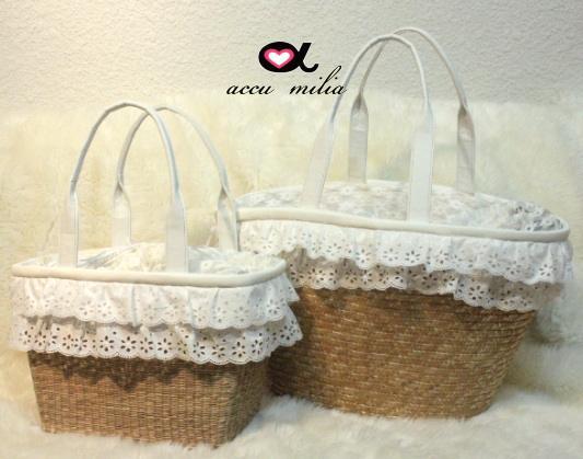 accu milia(アキュミリア) 2Wayフリルリボン キャリーBag(スモール) 日本国内のベテランのかばん作り40年以上の鞄職人さんが籠バッグをキャリーバッグ用に作りました
