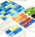グラデーショングラス 6カラー 36個付き裏ネットミニシート ガラス タイル DIY インテリア 工作 陶磁器 タイル