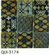 青 50角 デザインタイル モザイクタイル 磁器 インディア シート(36粒)販売。 アンティーク イスラム風の絵タイル。壁、床(キッチン カウンター・テーブル・浴室) のDIYリフォームにお勧め。アジアンテイスト