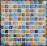 25角タイル モザイクタイル ガイア 茶・青窯変ミックス シート(121粒)販売です。 アンティーク 大理石調のカラフルなミックス デザインです。内 外、床 壁、 (キッチン カウ