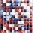 モザイクタイル シート 25角 フォーラム 磁器 赤 青 白ミックスデザイン。おしゃれなアンティーク、レトロモダン風。キッチン・玄関・テーブル・浴室(風呂)洗面所のDIYリフォームにOK。床・壁インテリア建材・日本製・美濃焼・耐熱モザイクタイル