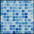 モザイクタイル シート 25角 フォーラム 磁器 青ミックスデザイン。ミックスデザインタイル対応、おしゃれなアンティーク、レトロモダン風。キッチン・玄関・テーブル・浴室(風呂)洗面所のDIYリフォームにOK。床・壁建材・日本製・美濃焼・耐熱モザイクタイル