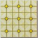 モザイクタイル シート 磁器 かわいい花柄 黄色 アンテイーク 大正ロマン 昭和レトロ。キッチン カウンター お風呂 玄関ポーチ トイレ 庭 ベランダ 土間 エントランスをDIYで、おしゃれにリフォーム。陶器 耐熱 耐水 耐火 美濃焼 インテリア建材