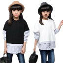 春秋着 こども服 女の子 子供服 大人っぽい七五三 長袖 Tシャツ 可愛いスタイルトップス 女の子 カジュアル シャツ ブラウス 子供服 Tシャツ 子供服 ブラック ホワイトTFL062