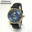 Vivienne Westwood (ヴィヴィアンウエストウッド) 腕時計 VV065NVBK ブラック レザー/ゴールド/ネイビー 時計 メンズ ヴィヴィアン...