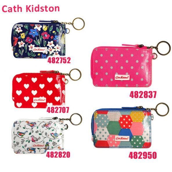 Cath Kidston(キャスキッドソン) ジップ トラベル パース Zipped Travel Purse with Key Chain 482752 482707 482820 482837 482950 定期入れ 小銭入れ リング付きチェーン 花柄 ドット ハート 鳥 パッチワーク