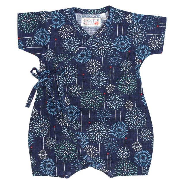甚平 ロンパース 赤ちゃん ベビー 新生児 男の子 綿100% 日本製生地 花火柄 新生児ドレス グレコロンパス 寝まき 出産祝 50cm 60cm