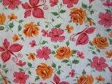 フィードサック  白地ピンクオレンジ 蝶お花 (1/16サイズ)
