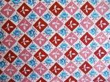 拼布被褥手工 为小东西制作■feed套为红粉红色块青迷你玫瑰(1/4尺寸)[フィードサック  赤ピンクブロックに青ミニ薔薇(1/4サイズ)]