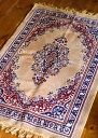 インドのエスニック絨毯 ロング【約110cm×約68cm】 ベージュ 【送料無料&あす楽】