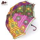 インド・ラジャスタンの刺繍傘- 直径80cm程度 花と波模様...