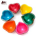 カラフル素焼き小皿6個セット(ハート)〔3.5cm×6.3cm〕 オイルランプ 照明 インドの祭り ディワリ |