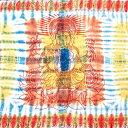 ショッピングソファーカバー 〔195cm*100cm〕ガネーシャ&ヒンドゥー神様のタイダイサイケデリック布 青×黄×オレンジ系 / アジア インド ファブリック エスニック
