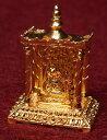 【置物】 ゴールド・ミニ・シヴァ・リンガム 寺院タイプ / 神様像 インド エスニック アジア 雑貨