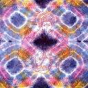 ショッピングソファー 〔195cm*100cm〕ガネーシャ&ヒンドゥー神様のタイダイサイケデリック布 紫×黄×ピンク×水色系 / アジア インド ファブリック エスニック