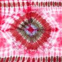〔195cm*100cm〕ガネーシャ&ヒンドゥー神様のタイダイサイケデリック布 ピンク×紫×緑×小豆系 / アジア インド ファブリック エスニック