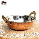 カダイ 装飾持ち手付 (直径:約13.5cm) 鍋 インド 食器 銅 インド高級料理店でも使っています! エスニック アジア 食品 食材 調理器具 インドアジアの食材・食器鍋 カダイ 装飾持ち手付 (直径:約13.5cm) / レビューでタイカレープレゼント あす楽