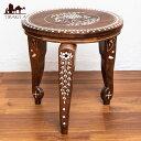 【テーブル】 象モチーフのアジアンサイドテーブル 【直径:約30cm】 / インテリア インド 家具 エスニック 雑貨