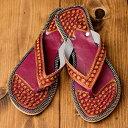 ショッピングSH- インドのカラフル刺繍ビーチサンダル / ビーサン 靴 シューズ リゾートサンダル チャッパル アジア レディース エスニック衣料 アジアンファッション エスニックファッション