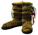ショッピングニットブーツ ネパールのニット・ブーツ 【黄緑×黒・斑】 24.5cm /25cm /27cm /27.5cm あす楽