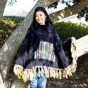 ネパール伝統布とフェルト飾りのフリースポンチョ /
