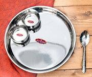 【大皿 プレート】 ステンレスカレー皿セット カレー大皿と小皿2枚のセット / ラウンドターリー 丸皿 ターリープレート インド チャイ チャイカップ エスニック アジアン 食品 食材 食器