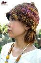 ショッピング耳あて あったかウールのミックスカラーハット / ネパール 帽子 ニット 耳あて エスニック衣料 アジアンファッション エスニックファッション