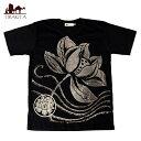 ロータスとオーンモチーフのTシャツ / インドの神様 エスニック メンズ レディース エスニック衣料 アジアンファッション エスニックフ..