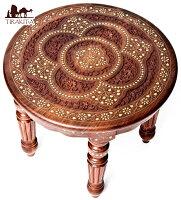 【送料無料】 シーシャムウッドのサイドテーブル 【直径:45.5cm】【ラウンドタイプ】 / インド アジアン 家具 エスニック 雑貨