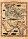 【19世紀】アンティーク地図ポスター OVERLAND ROUTE TO INDIA 【ヨーロッパ インド周辺】 / 古地図 世界地図 東南アジア 本 印刷物 ス..
