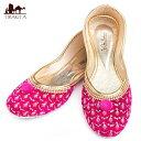 ゴージャス刺繍のマハラニフラットシューズ / 靴 パンプス ペッタンコ靴 インド アジア サンダル レディース エスニック衣料 アジアンファッション エスニックファッション