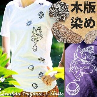 Rythmicalganesha 木頭塊輸出 T 襯衫民族服裝衣服時尚亞洲印度大象印度教雕版印刷短袖原男女皆宜的偉人反戰 t 恤