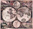 【17世紀】アンティーク地図ポスター Nova Totius Terrarum Orbis Tabula 【両半球世界地図】 / 古地図 インド 東南アジア 本 印刷物 ..