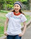 カラフル刺繍の白いシャツ 春 夏 Mサイズ/Lサイズ レビューでタイカレープレゼント あす楽