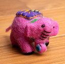 もこもこぞうさんのキーホルダー 【ピンク】 / フェルト インド エスニック アジア 雑貨