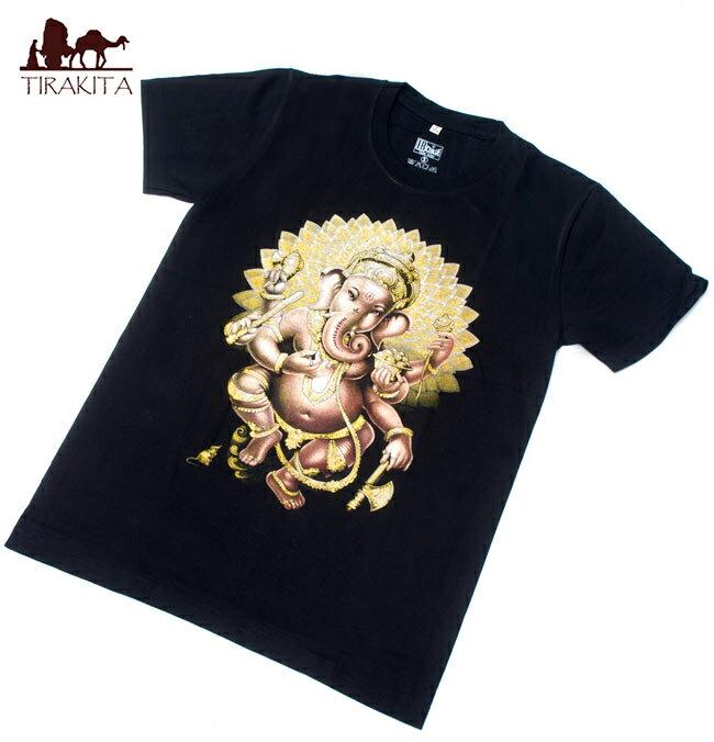 写実的ガネーシャ Tシャツ Sサイズ-ブラック/Sサイズ-ホワイトグレー/Sサイズ-ブルーグレー/Mサイズ-濃グレー/Mサイズ-ブラック/Lサイズ-ネイビー/Lサイズ-グレー/XLサイズ-焦げ茶/XLサイズ-ブラック レビューでタイカレープレゼント あす楽