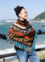 手編みのカラフルウールポンチョ / ネパール エスニック アジア エスニック衣料 アジアンファッション エスニックファッション