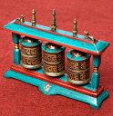 【高品質】ターコイズ装飾3連マニ車 高さ:約14.5   【送料無料】 チベット 宗教用品 アジア チベタン エスニック インド 雑貨