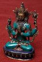 六字咒観音菩薩(シャドゥクシャリー・アヴァローキテーシュワラ) 高さ:約21.5 【送料無料】 エスニック インド アジア 雑貨 ネパール 像 神様 仏像 チベット 密教 ブッダ像