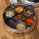 円形スパイスボックス 直径約19cm 【送料無料&あす楽】 入れ インド マサラ ケース エスニック アジア 食品 食材