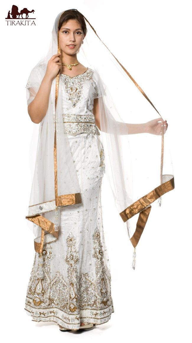 【1点物】インドのウェディングドレス-白 / 送料無料 あす楽