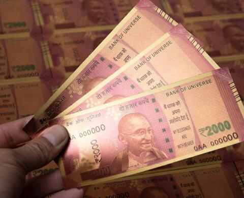 1000ルピー札モチーフのゴールドカード / 金運 財布 風水 お札 あす楽
