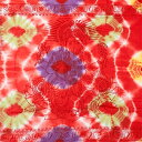 ショッピングソファーカバー 〔195cm*100cm〕ガネーシャ&ヒンドゥー神様のタイダイサイケデリック布 赤×黄緑×紫×黄色系 / アジア インド ファブリック エスニック