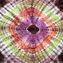 〔195cm*100cm〕ガネーシャ&ヒンドゥー神様のタイダイサイケデリック布 黒×紫×オレンジ×緑系 / アジア インド ファブリック エスニック